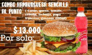 COMBO HAMBURGUESA DE CARNE SENCILLA FRANCESA Y GASEOSA